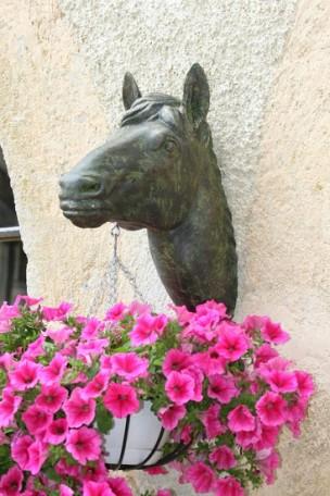 Tête de cheval en fonte Bronze-Vert