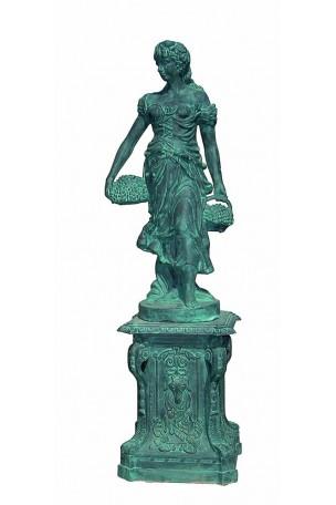 Statue en fonte 4 saisons Bronze-Bleuté